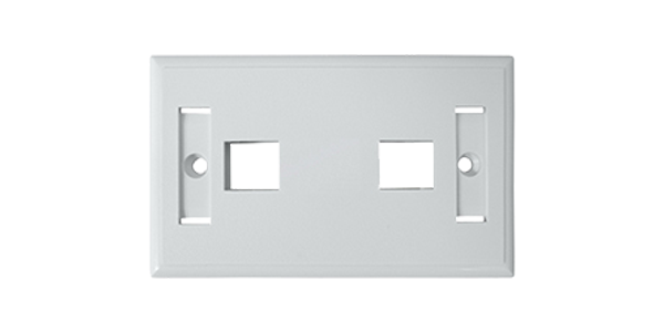 Standard 2-Port for keystone jack Faceplate, White-img-1