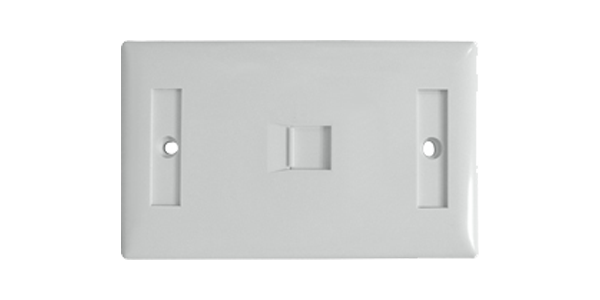 US horizontal type 1-port Shuttered faceplate, white-img-1