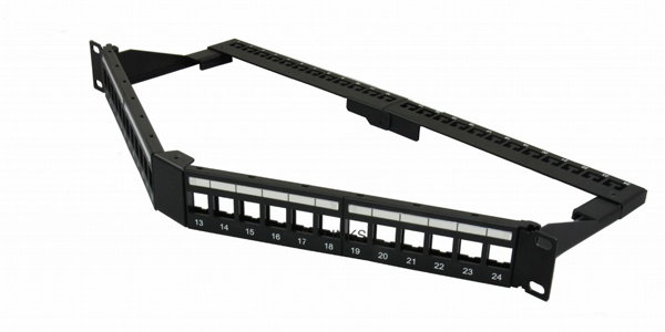 1U, CAT6, UTP, Angled Modular Patch Panel 24 Port, With PD Modules-img-1