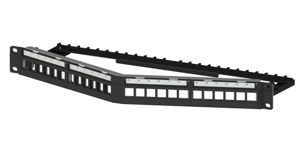 1U, CAT6A, STP, Angled Modular Patch Panel 24 Port, Loaded with keystone jacks Tool-less 180 degree-img-1