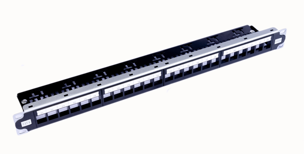 1U, CAT6A, STP, Modular Patch Panel 24 Port, Loaded with keystone jacks Tool-less 180 degree-img-1