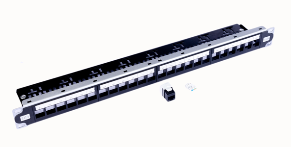 1U, CAT6, UTP Modular Patch Panel 24 Port, Loaded with keystone jacks tool less 180 degree-img-1